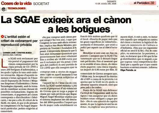 la SGAE exige ahora el canon a las tiendas