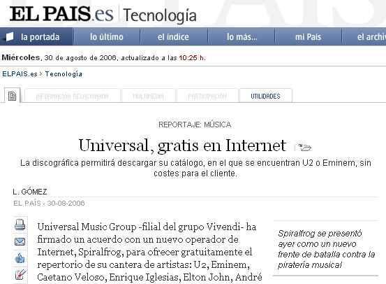 Universal, gratis en Internet