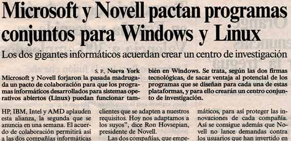 Microsoft & Novell pactan programas para Windows y Linux